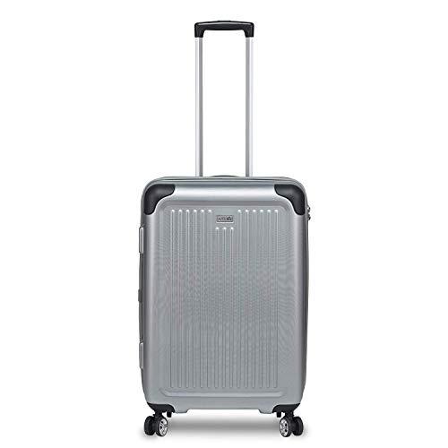 STRATIC Stripe Hartschalen-Koffer Trolley Reisekoffer Rollkoffer mit TSA-Schloss 4 Rollen besonders leicht und leise, M, Silver