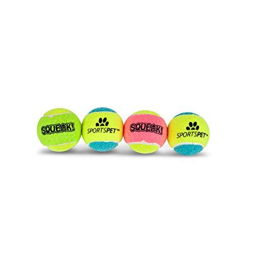 SPORTSPET Tennisbälle Puppy - 48 mm Ø mit Quietscher, 4er Pack