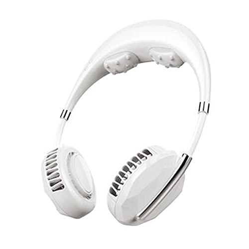 SeniorMar-UK Rechargeable Portable Mini USB Massage Ventilateur de Cou Ultra Silencieux Refroidisseur Climatiseur sans Feuilles Suspendu Ventilateur de Cou