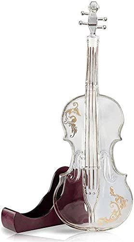 Decantador de cristal para violín de 1000 ml, base de caoba – The Wine Savant Decanter de cristal para whisky, bebidas alcohólicas escocas, vino o vodka