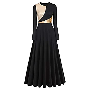 IDOPIP Praise Dance Dresses for Women Gold Metallic Liturgical Lyrical Dancewear Long Sleeves Dance Dress Loose Fit Full Length Robe Ruffle Tunic Skirt Worship Team Dresses Costume Black + Gold XL