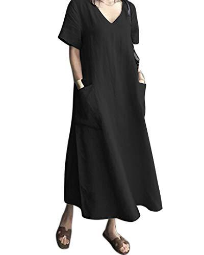 AUDATE Damen Baumwoll Leinen Kleid mit V-Ausschnitt Kurzarm Lose Sommer Kaftan Kleid Schwarz 2XL