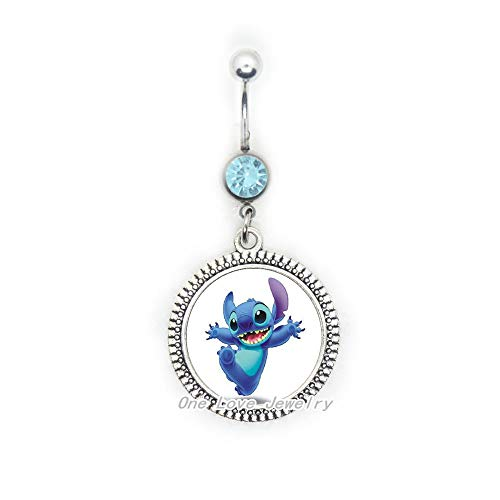 New Cartoon Handmade Fashion Jewelry Blue Stitch Belly Ring Glass Dome Belly Button Ring Belly Ring Gifts,TAP182
