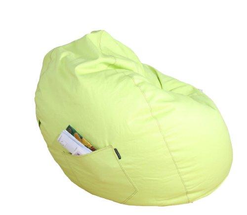 Kinzler S-10009/27 Sitzsack Billy, ca. Ø65 x H75 cm, klassische Tropfenform, Indoor, in vielen verschiedenen Farben, robuster Jeansstoff, Apfel grün