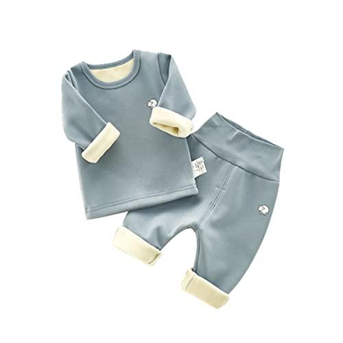 Beb Otoo e Invierno Ms Terciopelo Grueso Pantalones Calientes Traje Pijamas Algodn Puro Cintura Alta 0-1 Aos, Verde Gris, 80 cm
