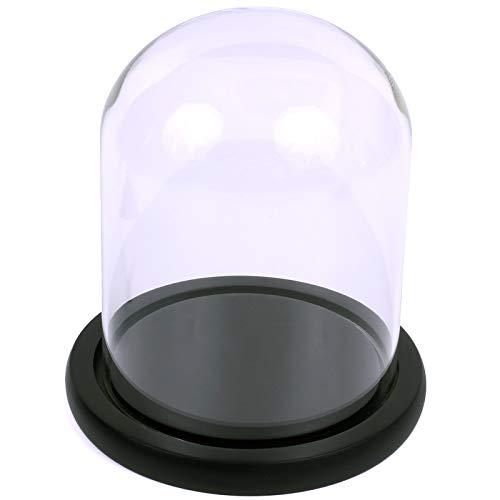 Hochwertige Echtglas-Vitrine rund mit schwarzer Basis für eine Pop! Sammelfigur