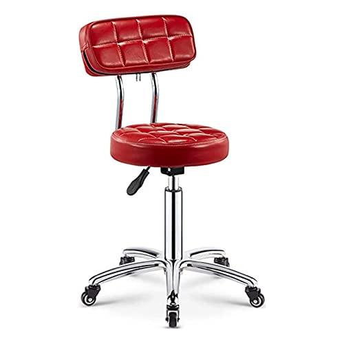 SXFYHXY Drehstuhl, Armloser Drehstuhl Bürostuhl Mit Rädern Pu Leather Modern Lounge Chair (Farbe: Rot)