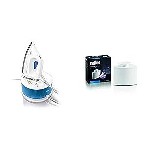Braun – Centro De Planchado, Suela 3D Eloxal Plus, Potencia 2200 W, Blanco/Azul + Filtro antical Apto para Centro de…