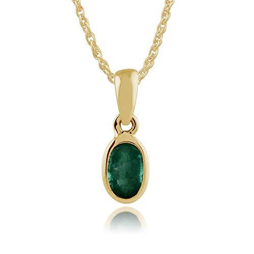 Gemondo Smeraldo Collana, 9ct Oro Giallo Incastonato 0.25ct smeraldo Ovale Ciondolo su 45cm Catenina
