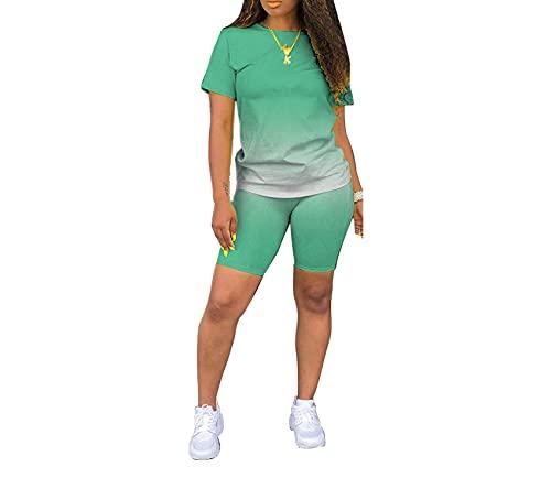 Moda para Mujer Gradiente Servicio A Domicilio Pantalones Cortos De Manga Corta Casual Gradiente Color SóLido Dos Piezas Mujer