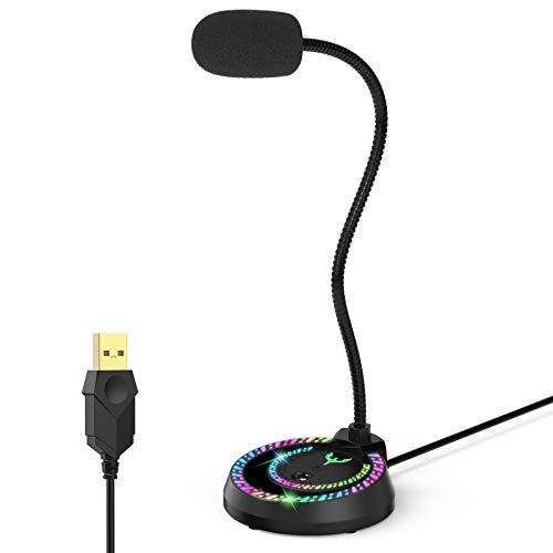 Blade Hawks USB Micrófono, micrófono para Juegos de PC con Ajuste de Volumen, micrófono de Condensador omnidireccional RGB con función de reducción de Ruido, Apto para PC, portátiles Mac, etc.