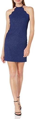 JUMP Junior s Scalloped Short Glitter Dress Navy 5 6 product image
