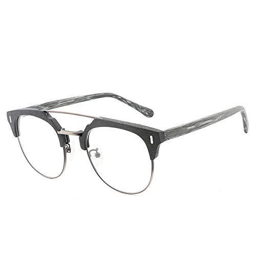 Y-longhair Placa gafas de sol vidrios llanos hecho a mano de madera de la vendimia vidrios de la manera informal de madera Gafas Gafas de moda (Color: 03Black, Tamaño: Libre) ( Color : 02 Black )