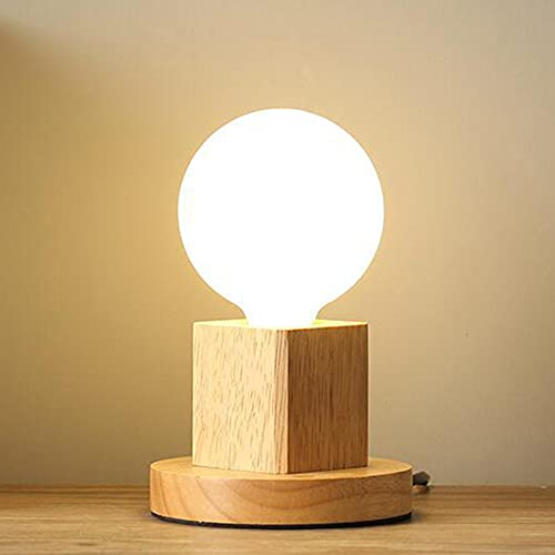 Mengjay Lampara de Mesa Moderna E27 Lampara de Escritorio de Madera Lampara de Noche luminaria de sobremesa con interruptor Para Dormitorio/Sala de Estar Enchufe de La Ue Base de Madera(A)