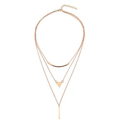 Beydodo Choker Kette Tattoo Gold Dreieck und Zylinder Mehrschichtige Halskette Vergoldet