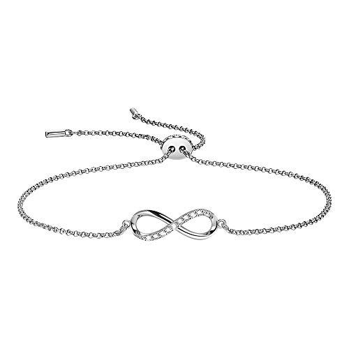 F.ZENI - Braccialetto da donna in argento Sterling 925, regolabile, idea regalo per anniversario di compleanno