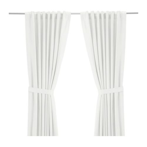 Ikea Ritva White Curtains Drapes 57 x 65 2 Panels Pair NEW with tie backs