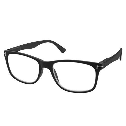 TBOC Gafas de Lectura Presbicia Vista Cansada – Graduadas +3.50 Dioptrías Montura Negra de Diseño Moda para Hombre Mujer Unisex Lentes de Aumento para Leer Ver de Cerca Bisagras de Resorte