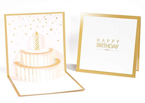 Deesospro® Biglietto D'auguri, Regalo di Compleanno per i Tuoi Parenti, Amici e Amanti, Biglietto di Auguri Pop-Up 3D con Bellissimi Ritagli di Carta, Busta Inclusa (Buon Compleanno)