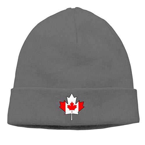 Lawenp Gorro de punto grueso para hombres y mujeres, gorro de gorro de hoja de arce con bandera canadiense de Canadá