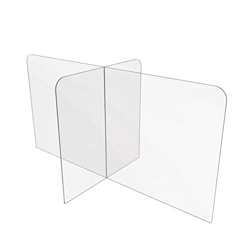 Sneeze Guard for Counter or Table (48'W x 24' x 24'D), Freestanding Plexiglass Shield Table Divider, Clear Acrylic Plastic Barrier for Countertop, Desk, Restaurant, School Classroom [Made in USA]