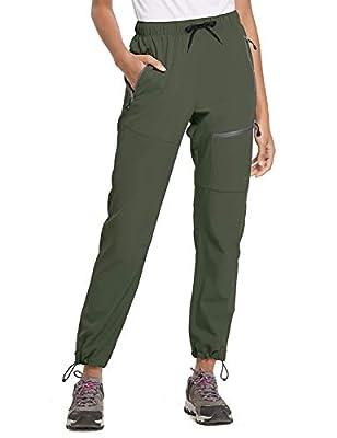 BALEAF Women's Hiking Cargo Pants Outdoor Lightweight Capris Water Resistant UPF 50 Zipper Pockets Black Size XL