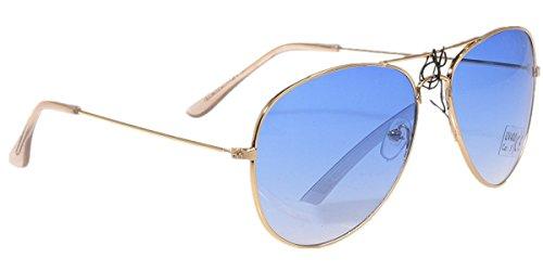 Unbekannt Sonnenbrille in verschiedenen Farbe (One size, Goldener Rahmen/Meerblaue Gläser)