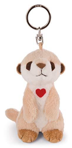 NICI 42782 Schlüsselanhänger Erdmännchen mit Herz, 10 cm, beige/weiß