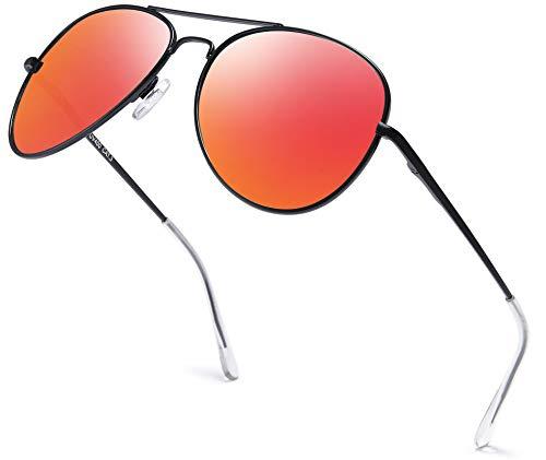 Herren Pilotenbrille Verspiegelt   Damen Sonnenbrille   Unisex Brille mit Federschrnier   UV400 Schutz Filter Kat. 3 CE (73   Rahmen Schwarz - Glas Orange verspiegelt)