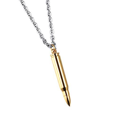 SOIMISS1PC Titanio Acero Bola Collar Colgante Personalidad Collar Frío Joyas para Hombre Plata (con una cadena) Golden Talla única