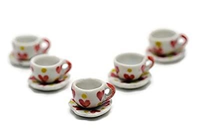 Buy Easy 5 Set Lovely Sweet Ceramic Coffee/Tea Cups & Saucers Sets Dollhouse Miniatures Food Kitchen Decoration