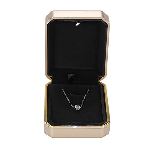 Caja de joyería, caja de collar con colgante de anillo de lujo, con luz LED, adecuado para propuestas de matrimonio (caja colgante)