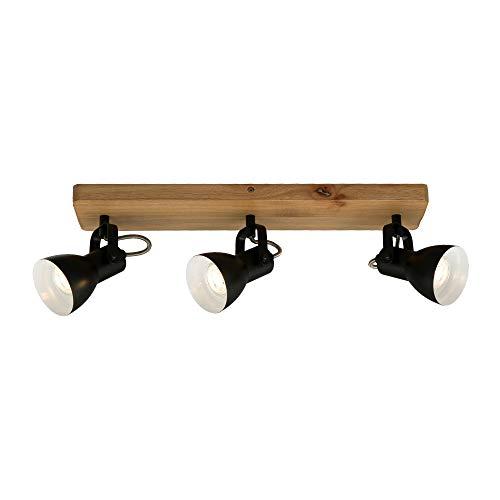 Briloner Leuchten 2902-035 luz, Foco Retro, lámpara de Techo Vintage, focos giratorios y orientables, 3X GU10, MAX. 35 vatios, Madera y Metal, 480x100x135 mm (LxAxA), Negro-blanco