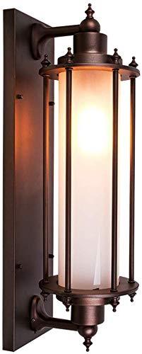 Vintage Braun Wasserdicht IP54 Außen-Wandleuchte E27 Aluminium/Acryl Lampenschirm Zylindrisch Outdoor Light Garten Patio Zaun Hof Garage Tor Flur Treppe Einfahrt Landhaus Wandbeleuchtung 26*20*60cm