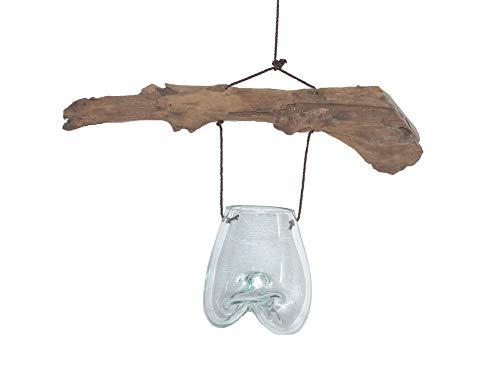 SAWA Deko Hänge - Glas mit Holz zum Aufhängen Glasvase Vase aus Glas Deko-Glas spezielle Blumenampel Geschenkidee
