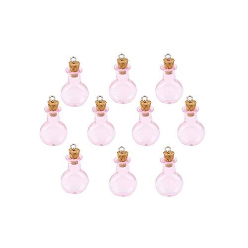 Decoraciones de interior Rosa Mini botellas de vidrio frascos frascos con tapón de corcho para colgar, botella plana redonda de almacenamiento, mini tapón de corcho transparente, 10 unidades
