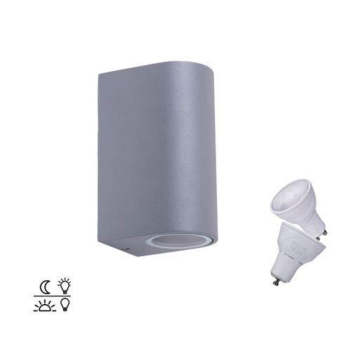 ZEYUN wandlamp wandlamp up down, automatische schakelaar met lichtsensor, GU10 aluminium buitenlamp grijs