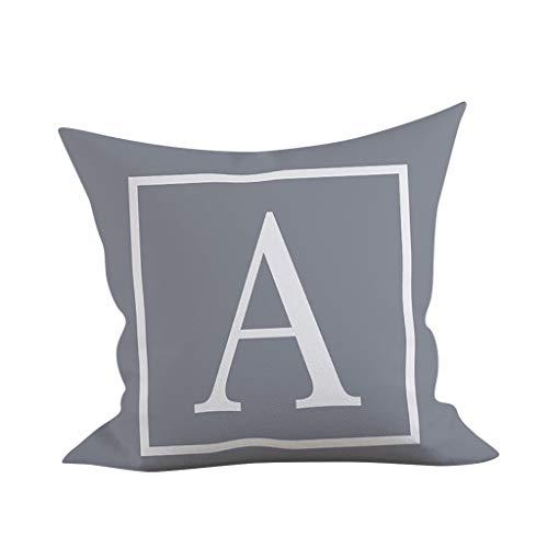 FeiliandaJJ Pillowcase Grau Buchstaben Drucken Kissenhülle Kopfkissenbezug Rechteckig Dekoration Kissenbezug Super weich Sofakissen für Wohnzimmer Sofa Bed Home,45x45cm (A)