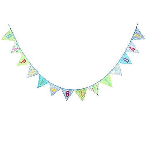 G2PLUS Happy Birthday Wimpel Girlande, 3.3M Grün Beidseitig Bunting Wimpelkette mit 14 STK Farbenfroh Wimpeln für Geburtstag Party