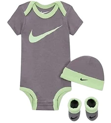 Juego de regalo para recién nacido, diseño de Nike Nike con gorro y zapatos, color gris