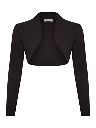 DANAEST Damen Bolero Jacke Festlich Cardigan Top (653), Farbe:Schwarz, Kostüme & Blazer für Damen:40 / L