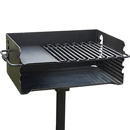 Pilot Rock CBP-247 Jumbo Park Style Heavy Duty Steel Outdoor BBQ Charcoal Grill with Cooking Grate and 2 Piece Post for Camping and Backyards, Black