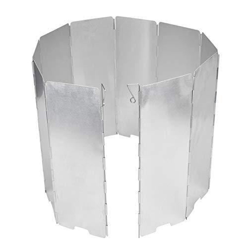 Alliage d'aluminium 10 pièces randonnée pique-nique coupe-vent équipement de Camping réchaud de Camping pare-brise Anti-thermique Portable pour cuisinière de Camping(Silver)