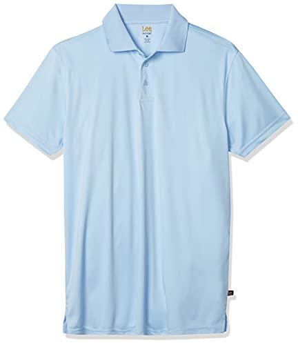 Lee Uniforms - Polo Deportivo de Manga Corta para Hombre, Azul Claro, Large