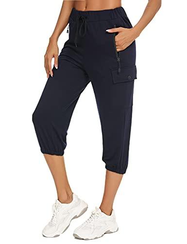 Wayleb Pantalon de Sport Femme 3/4 Taille Haute Pantalon de Jogging Élastique avec Cordon de Serrage et 4 Poches Pants de Fitness Doux Pantalon d'entraînement pour Running Course Gym