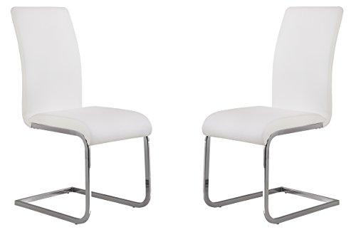Armen Living Amanda Side Upholster Chrome White Finish Kitchen & Dining Chair-set of 2