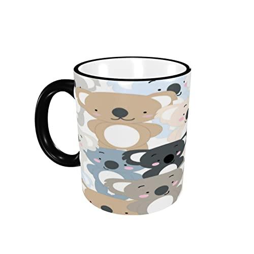 Taza de café con diseño de borde de Koala, taza de cerámica con asa para té, café, taza de café, taza de café, regalo para hombres y mujeres, trabajo de oficina