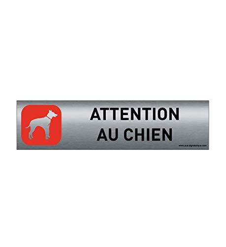 AUA SIGNALETIQUE - Plaque de Porte Aluminium brossé imprimé AluSign - 200x50 mm - Attention au Chien Rouge modèle 3 - Double Face adhésif au Dos