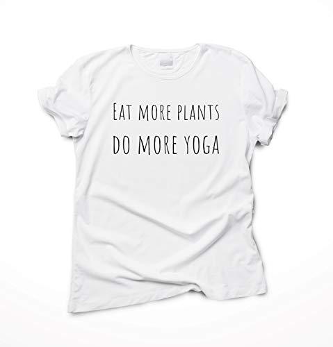 Flora Furora Camiseta con Dicho - Eat More Plants, do More Yoga - Ropa Mujer Hombre, T-Shirt Manga Corta, Tallas Grandes, Tshirt Algodón Blanco/Gris/Negro | Regalo Camisa Top Yoga Pilates Accesorios