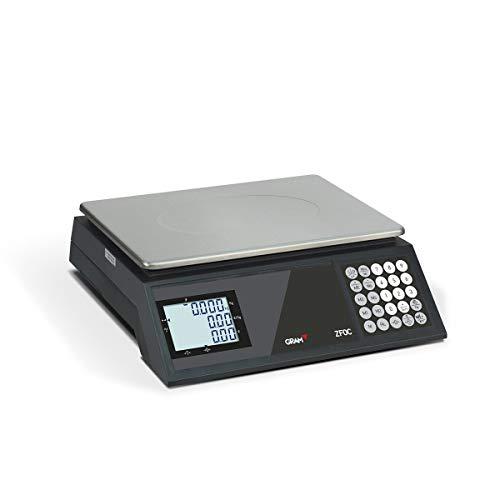 Gram ZFOC-30 Báscula Comercial Profesional (30kg/5g) - Legal/Homologada para frutería, tienda - Batería 5000 horas - Doble display